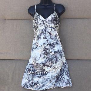 John Galliano Vintage Silk Newsprint Dress